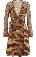 Diane Von Furstenberg Kara Animal-print Silk-jersey and Chiffon Wrap Dress - Lyst