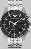 Emporio Armani Brushed Stainless Steel Chronograph Watch - Lyst