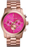 Michael Kors Oversize Rose Golden Stainless Steel Runway Chronograph Watch - Lyst