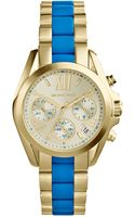 Michael Kors Womens Chronograph Mini Bradshaw Blue and Goldtone Stainless Steel Bracelet Watch 36mm - Lyst