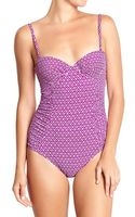 Old Navy Ruched-bodice Balconette Swimsuits - Lyst