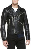 Kenzo Kzip Leather Biker Jacket - Lyst