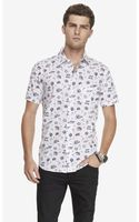 Express Fitted Short Sleeve Travel Print Shirt - Lyst