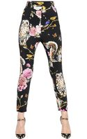 Dolce & Gabbana Printed Viscose Crepe Trousers - Lyst