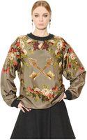 Dolce & Gabbana Keys Floral Printed Silk Satin Top - Lyst