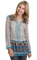Lucky Brand Mixed Print Tunic Top - Lyst