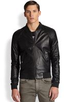 Versace Perforated Leather Jacket - Lyst