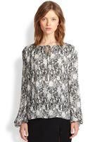 L'Agence Lace-print Silk Blouse - Lyst
