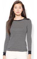 Lauren by Ralph Lauren Striped Zip Shoulder Shirt - Lyst