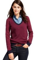 Tommy Hilfiger Diamond-print Colorblocked Sweater - Lyst