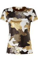 Michael Kors Camouflaged Sequin Tshirt - Lyst