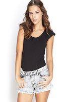 Forever 21 Cap Sleeve Knit Tee - Lyst