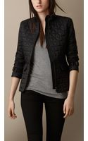 Burberry Leather Trim Quilted Jacket - Lyst