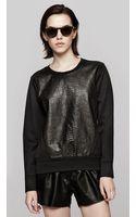 Helmut Lang Leather Combo Sweatshirt - Lyst