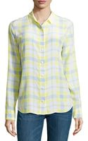 Equipment Longsleeve Plaid Chiffon Blouse Yellow Xs - Lyst
