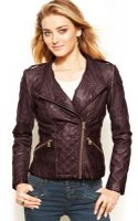 Guess Quilted Fauxleather Moto Jacket - Lyst