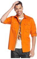 Sean John Long Sleeve Solid Utility Shirt - Lyst