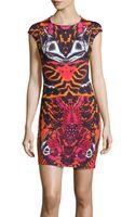 McQ by Alexander McQueen Capsleeve Abstractprint Knit Dress - Lyst