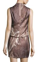 Halston Heritage Sleeveless Draped Print Dress - Lyst