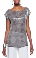 Eileen Fisher Clear Sequined Short Sleeve Top - Lyst