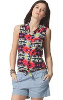 C&c California Buttonfront Printed Tank - Lyst