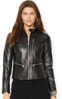 Lauren by Ralph Lauren Petite Leather Biker Jacket - Lyst