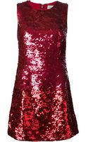 Saint Laurent Sequined Mini Dress - Lyst