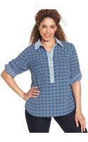 Jones New York Signature Plus Size Rolltabsleeve Printed Shirt - Lyst