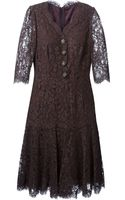 Dolce & Gabbana Floral Lace Flared Dress - Lyst