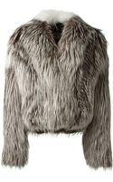 Yves Salomon Grey Platinium Fox Fur Jacket - Lyst