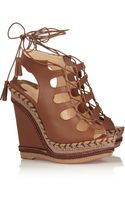 Christian Louboutin Spagana 140 Embroidered Cutout Leather Wedge Sandals - Lyst