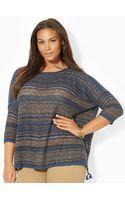 Lauren by Ralph Lauren Striped Linen-cotton Sweater - Lyst