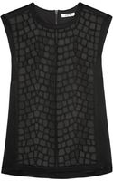 Helmut Lang Leather and Mesh Paneled Satin Top - Lyst