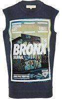 River Island Dark Blue Bronx Print Sleeveless Sweatshirt - Lyst
