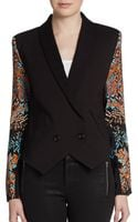 Twelfth Street By Cynthia Vincent Printedsleeve Tuxedo Jacket - Lyst