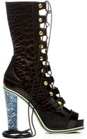 Rodarte Embossed Black Lizard and Brown Crocodile Leather Bootie - Lyst