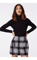 Missguided Mindie Check A-line Skirt Black - Lyst