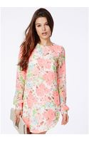 Missguided Alexys Long Sleeved Shirt Dress in Floral Print - Lyst