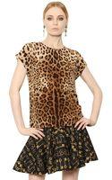 Dolce & Gabbana Leopard Printed Silk Crepe De Chine Top - Lyst