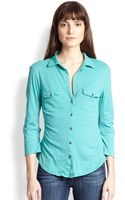James Perse Cotton Jersey Button-front Shirt - Lyst