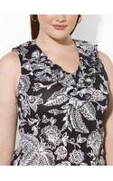 Lauren by Ralph Lauren Ruffled Floral V-neck Top - Lyst