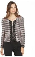 Rebecca Minkoff Cerise Wool Blend Studded Tweed Roxy Collarless Jacket - Lyst