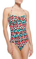 La Blanca Essence Chevronprint Bandeau Onepiece Swimsuit - Lyst