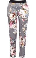River Island Grey Floral Print Satin Trousers - Lyst