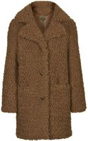 Topshop Faux Fur Teddy Coat  Toffee - Lyst
