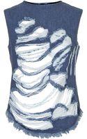 Topshop Animal Print Shredded Denim Vest Top by Marquesalmeida X - Lyst