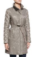 T Tahari Milano Belted Puffer Jacket - Lyst