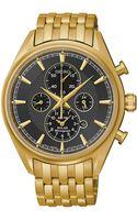 Seiko Mens Chronograph Solar Alarm Goldtone Stainless Steel Bracelet Watch 43mm - Lyst