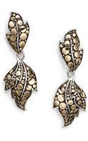 John Hardy Dot Ayu Sterling Silver 18k Yellow Gold Leaf Drop Earrings - Lyst