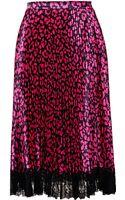 Christopher Kane Pleated Leopard Print Skirt - Lyst